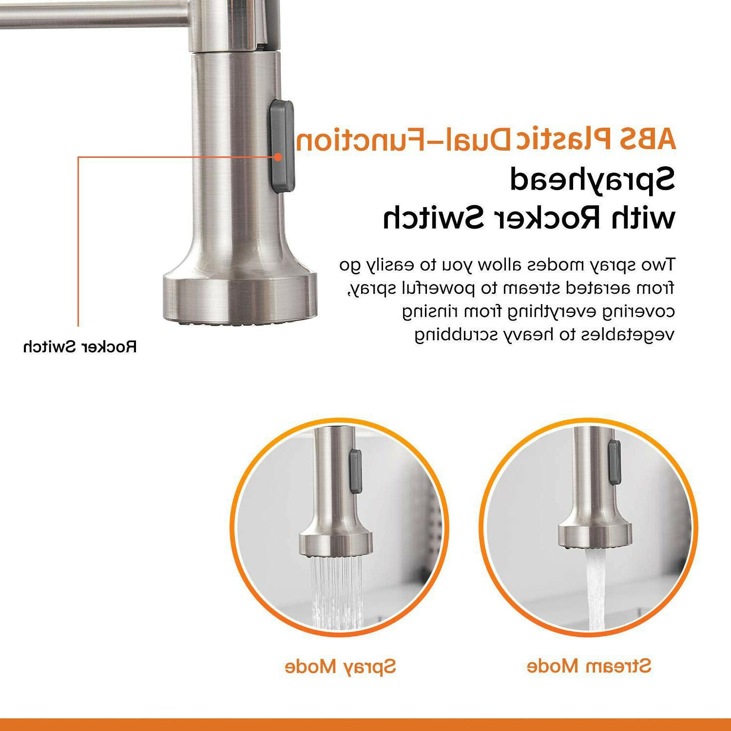 Kitchen Faucet Down Single Spring Brushed