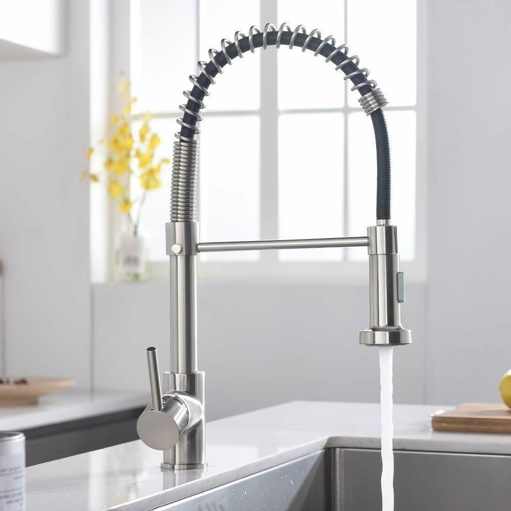 Kitchen Faucet with Down Sprayer Single Spring Nickel