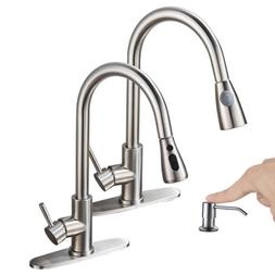 WEWE Single Handle Swivel Kitchen Sink Faucet Pull Out Spray